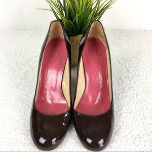 Kate Spade patentes leather pumps dark brown heel